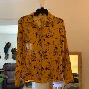 Floral mustard blouse